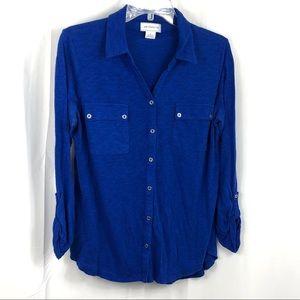 Liz Claiborne Blue Button Front Shirt Size L